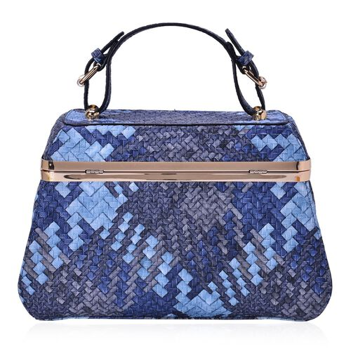 Sisley Weave Pattern Blue Colour Box Bag (Size 30x20x10 Cm)