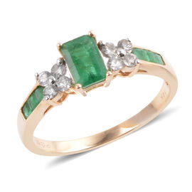 14K Y AAA Gold Kagem Zambian Emerald (Oct 0.60 Ct), White Topaz Ring 1.10 Ct.