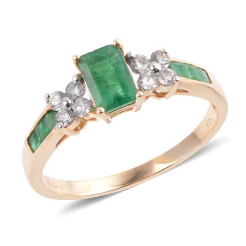 14K Y Gold Kagem Zambian Emerald (Oct 0.50 Ct), White Topaz Ring 1.100 Ct.