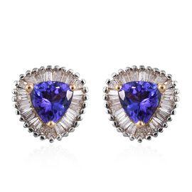 ILIANA 18K Y Gold AAA Tanzanite (Trl), Diamond (SI/G-H ) Stud Earrings (with Screw Back) 1.300 Ct.