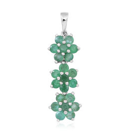 Kagem Zambian Emerald (Rnd) Triple Floral Pendant in Rhodium Plated Sterling Silver 1.500 Ct.