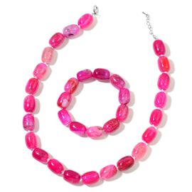 Pink Agate Necklace (Size 18 with 1 inch Extender) and Bracelet (Size 7) in Silver Tone 856.500 Ct.