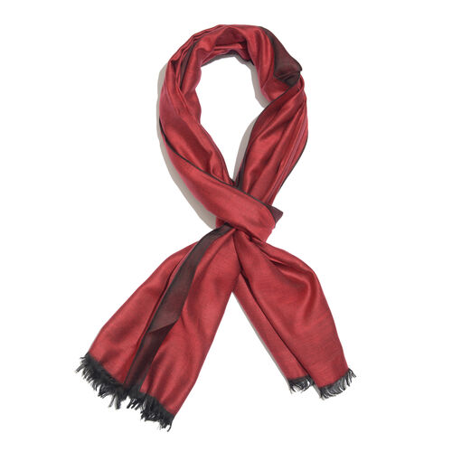 Persian Red Colour Reversible Scarf with Fringes (Size 200x70 Cm)