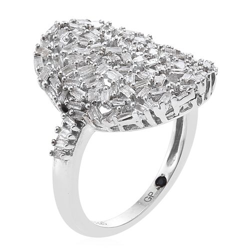 GP Diamond (Bgt), Kanchanaburi Blue Sapphire Cluster Ring in Platinum Overlay Sterling Silver 0.770 Ct.