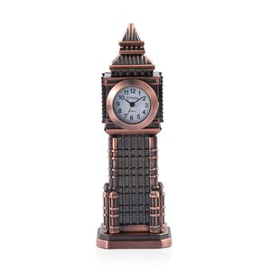 Home Decor - STRADA Japanese Movement White Dial Big Ben Design Clock in Rose Gold Tone