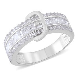 ELANZA AAA Simulated White Diamond (Sqr) Buckle Ring in Rhodium Plated Sterling Silver