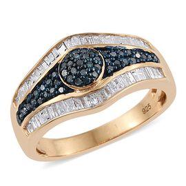 Blue Diamond (Rnd), White Diamond Ring in 14K Gold Overlay Sterling Silver 0.750 Ct.