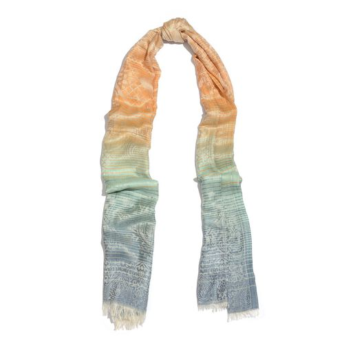 100% Modal Beige, Orange and Multi Colour Jacquard Pattern Scarf (Size 180x70 Cm)