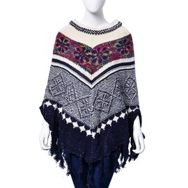 Navy, White and Multi Colour Floral Pattern Poncho with Squins and Tassels (Size 85x70 Cm)