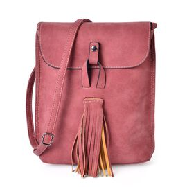 Dark Pink Colour Crossbody Bag with Fringes and Adjustable Shoulder Strap (Size 25x21x7 Cm)