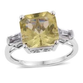 Asscher Cut Natural Green Gold Quartz (Sqr 6.00 Ct), White Topaz Ring in Platinum Overlay Sterling Silver 6.500 Ct.