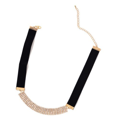 Set of 2 - White Austrian Crystal Choker Necklace (Size 16 with 3 inch Extender) in Silver and Yellow Gold Tone