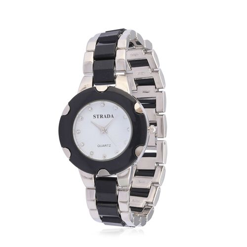 STRADA Japanese Movement White Austrian Crystal Studded White Dial Water Resistant Watch in Silver Tone with Stainless Steel Back and Black Strap