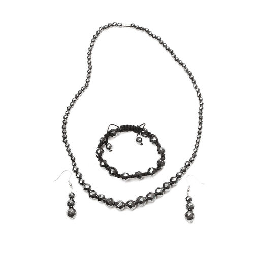 Hematite Necklace (Size 20), Hook Earrings and Bracelet (Adjustable) 255.50 Ct.