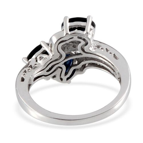 Kanchanaburi Blue Sapphire (Ovl), Diamond Ring in Platinum Overlay Sterling Silver 2.110 Ct.