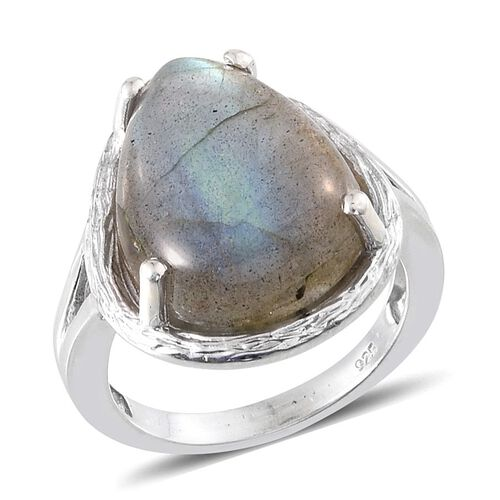 Labradorite (Pear) Ring in Platinum Overlay Sterling Silver 10.250 Ct.