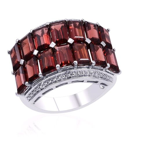 Mozambique Garnet (Oct) Cluster Ring in Rhodium Plated Sterling Silver 9.000 Ct.