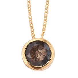 Natural Zawadi Golden Sheen Sapphire (Rnd) Solitaire Pendant With Chain in 14K Gold Overlay Sterling Silver 1.500 Ct.
