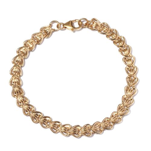 Yellow Gold Overlay Sterling Silver Bracelet (Size 7.5), Silver wt 3.68 Gms.
