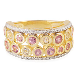 Pink Sapphire (Rnd), White Topaz Ring in 14K Gold Overlay Sterling Silver 2.240 Ct.