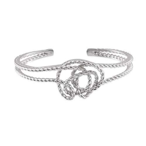 Platinum Overlay Sterling Silver Knot Bangle (Size 7.5), Silver wt 30.02 Gms.