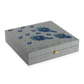 Peacock Feather Embroidered Grey Colour Stackable 100 Slot Ring Jewellery Box (Size 26x26x6 Cm)