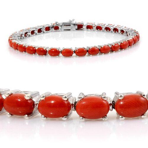 Mediterranean Coral (11.00 Ct) Platinum Overlay Sterling Silver Tennis Bracelet (Size 8)  11.000  Ct.