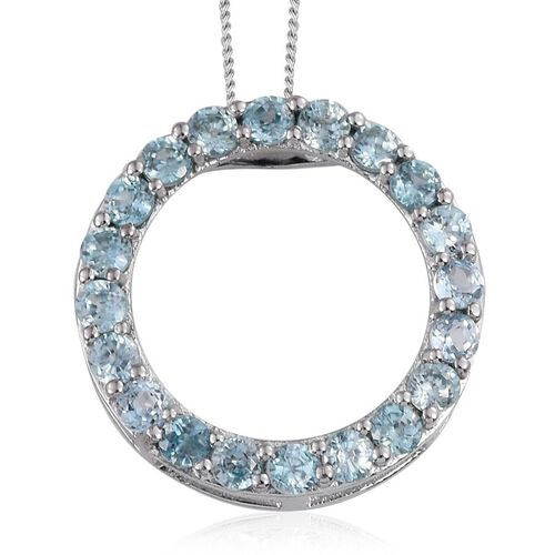 Natural Cambodian Blue Zircon (Rnd) Circle Pendant With Chain in Platinum Overlay Sterling Silver 3.500 Ct.