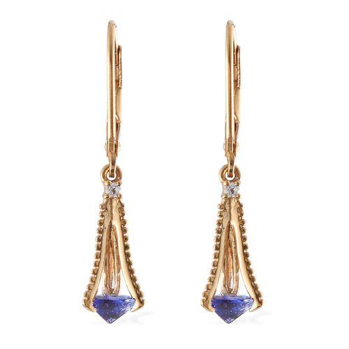 Tanzanite (Trl), White Topaz Lever Back Earrings in 14K Gold Overlay Sterling Silver 1.100 Ct.