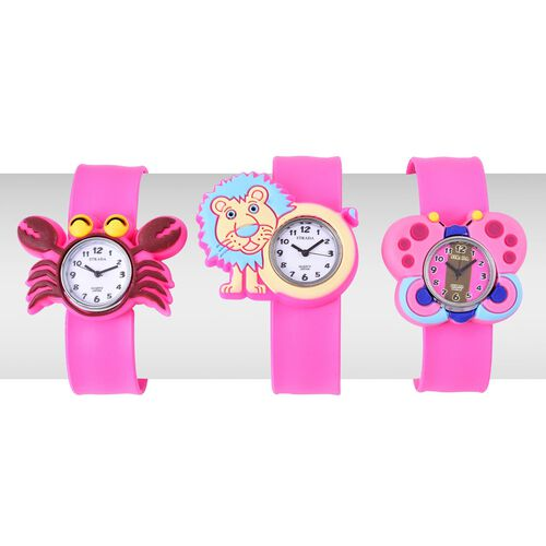 Set of 3 - STRADA Japanese Movement White and Pink Dial Water Resistant Crab, Lion and Butterfly Watch with Pink Silicone Strap