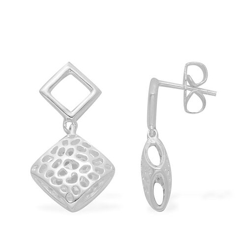 RACHEL GALLEY Rhodium Plated Sterling Silver Memento Diamond Earrings (with Push Back), Silver wt 4.16 Gms.