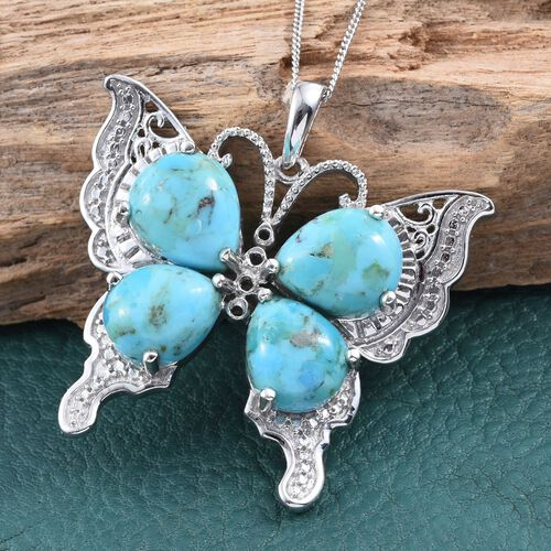 Arizona Matrix Turquoise (Pear) Butterfly Pendant With Chain in Platinum Overlay Sterling Silver 11.500 Ct.