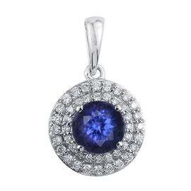 RHAPSODY 950 Platinum 1.75 Carat AAAA Tanzanite Round Halo Pendant with Diamond VS E-F.
