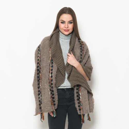 Beige and Taupe Colour Winter Scarf with Fringes (Size 175x90 Cm)