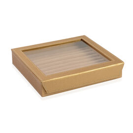 Hand Crafted - Eco Friendly Gold Colour 100 Slot Ring Box with Magnetic Closure (Size 24x22x5 Cm)