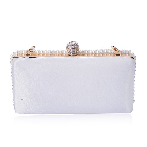 (Option 3) AAA White Austrian Crystal and Simulated White Pearl Clutch Bag with Chain Strap in Gold Tone (Size 17x9x4 Cm)