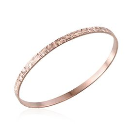 Rose Gold Overlay Sterling Silver Bangle (Size 7.5), Silver wt 8.04 Gms.