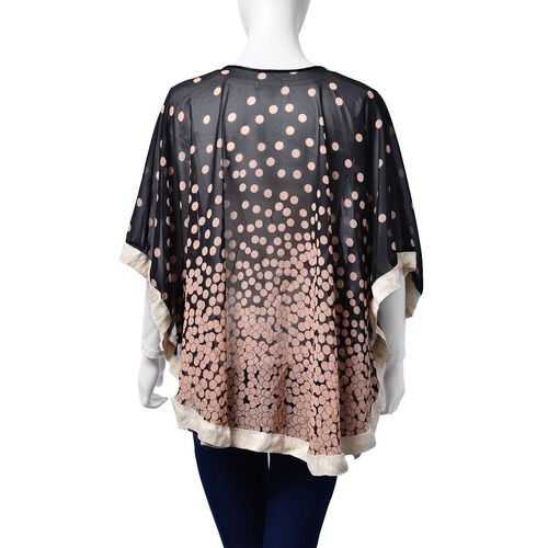 Pink Dots Pattern Black Colour Poncho (Free Size)