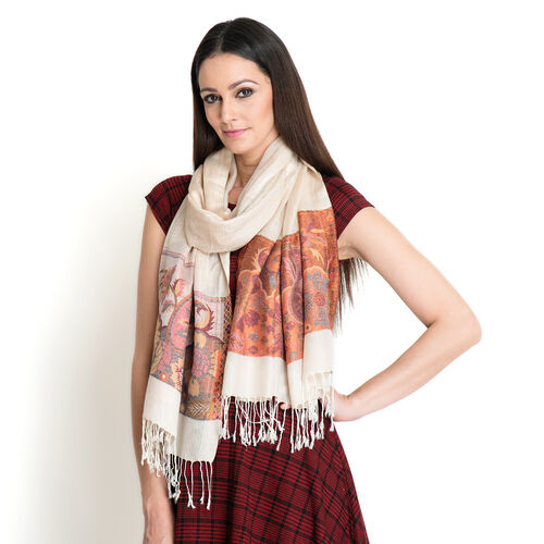 100% Modal Orange and Multi Colour Floral and Leaves Pattern Beige Colour Jacquard Scarf (Size 190x70 Cm)