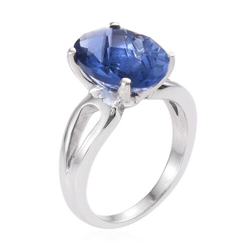 Colour Change Fluorite (Ovl) Solitaire Ring in Platinum Overlay Sterling Silver 6.250 Ct.