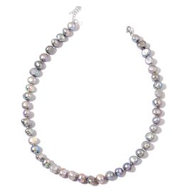 Double Shine Fresh Water Silver Grey Organic Pearl Necklace (Size 18 with Extender) in Sterling Silver