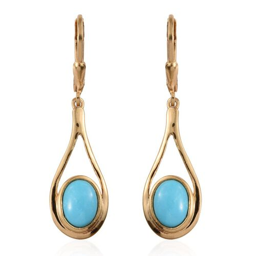 Arizona Sleeping Beauty Turquoise (Ovl) Lever Back Earrings in 14K Gold Overlay Sterling Silver 2.750 Ct.