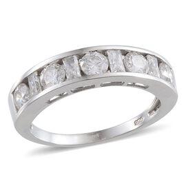 J Francis - Platinum Overlay Sterling Silver (Rnd) Half Eternity Band Ring Made with SWAROVSKI ZIRCONIA 1.690 Ct.