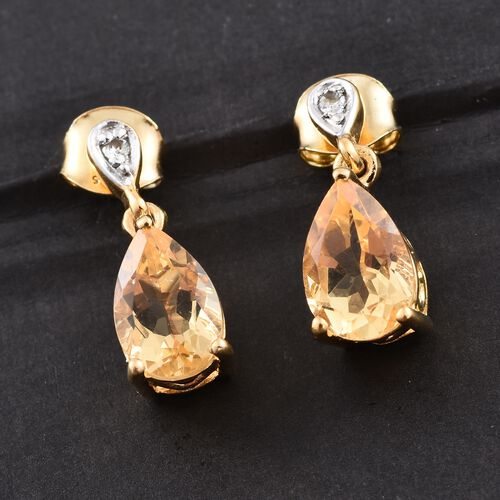 Citrine and Natural Cambodian Zircon 3.75 Ct. Silver Earrings in 14K Gold Overlay with Push Back