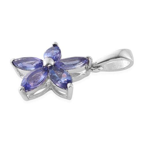 Tanzanite 1.15 Ct Silver Flower Star Pendant in Platinum Overlay
