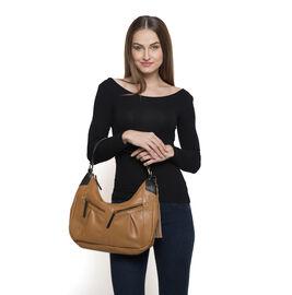 Genuine Leather Amber Tan Colour Handbag with External Zipper Pocket and Removable Shoulder Strap (Size 27 X 35 X 10 Cm)