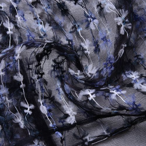 Black and White Colour Small Tassel Flowers Embellished Scarf (Size 160X65 Cm)