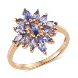 Tanzanite (Mrq) Floral Ring in 14K Gold Overlay Sterling Silver 2.000 Ct.