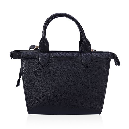 Black Colour Top Handle Bag with Adjustable and Removable Shoulder Strap (Size 33x23x11 Cm)