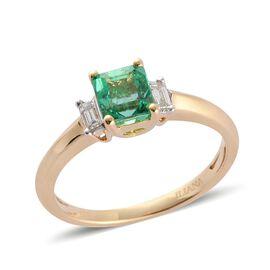 ILIANA 18K Y Gold Boyaca Colombian Emerald (Oct 0.75 Ct), Diamond Ring 1.000 Ct.